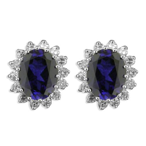 Blue oval cubic zirconia silver cluster stud earrings RLNRK/S
