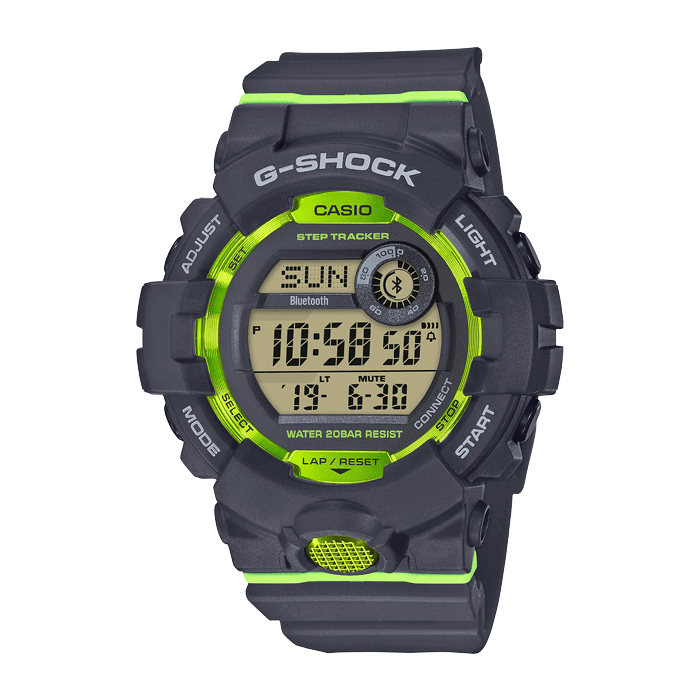 Casio G Shock Watch Black Rubber And Bright Green GBD-800-8ER
