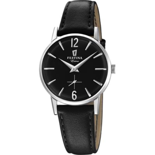 F20254/4 Festina Ladies Black Round Leather Strap Watch