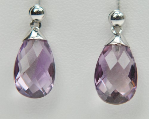 Faceted Purple Amethyst Drop Earrings White Gold