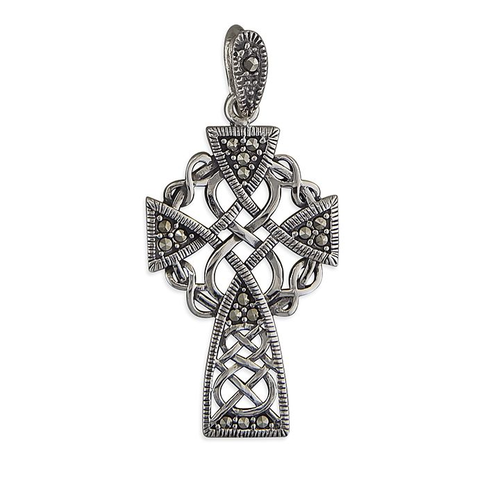 Marcasite Celtic Cross Sterling Silver