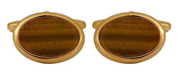 Oval Cufflinks Brown Tigers Eye Gold Plated