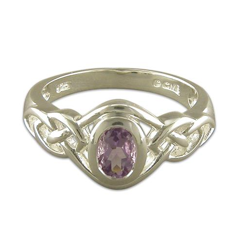 Oval Sterling Silver Amethyst Celtic  Ring