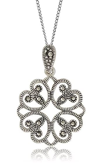 Round Marcasite Necklace Sterling Silver