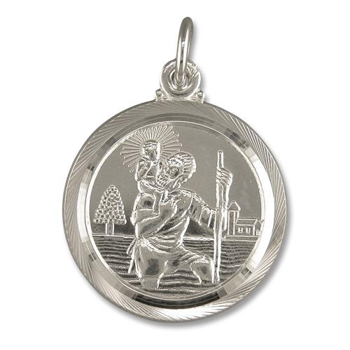 Round Sterling Silver St. Christopher Necklace Double Sided