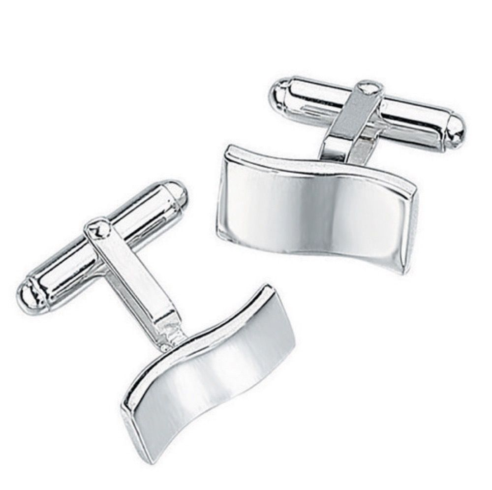 Solid Sterling Silver Square  Curved Wavy Cufflinks