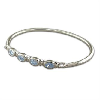 Sterling Silver | Four Oval Blue Topaz | Kiss Bangle