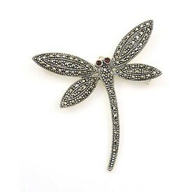 Sterling Silver | Marcasite | Dragonfly Brooch