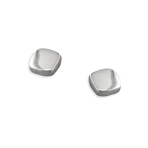 Sterling Silver Polished Cushion Shaped Stud Earrings