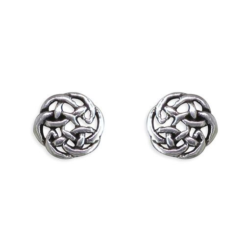 Sterling Silver Round Celtic Stud Earrings 6 mm