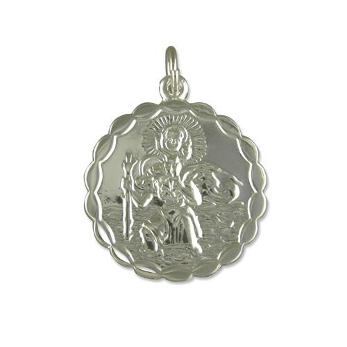 Sterling Silver Round Double Sided St. Christopher