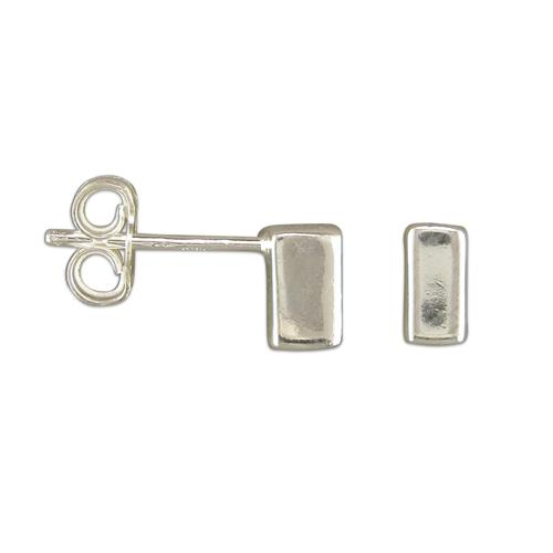 Sterling Silver Small Rectangle Stud Earrings