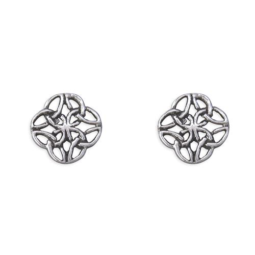 Sterling Silver Square Shaped Celtic Stud Earrings