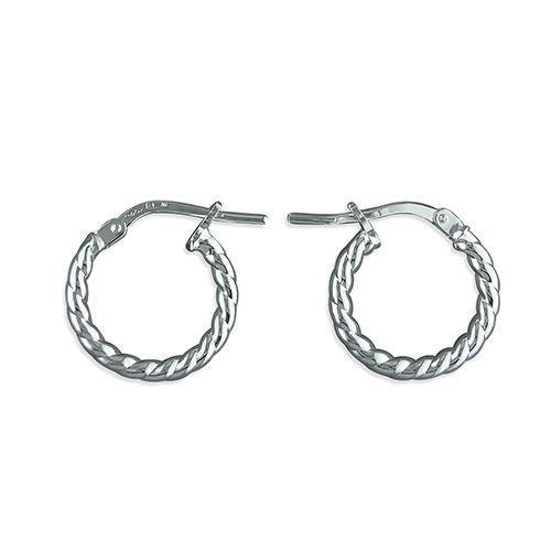 Sterling Silver Twisted Round Hoop 14 mm Earrings H2166/S