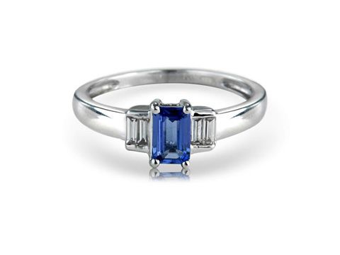 White gold tanzanite and baguette diamond dress ring