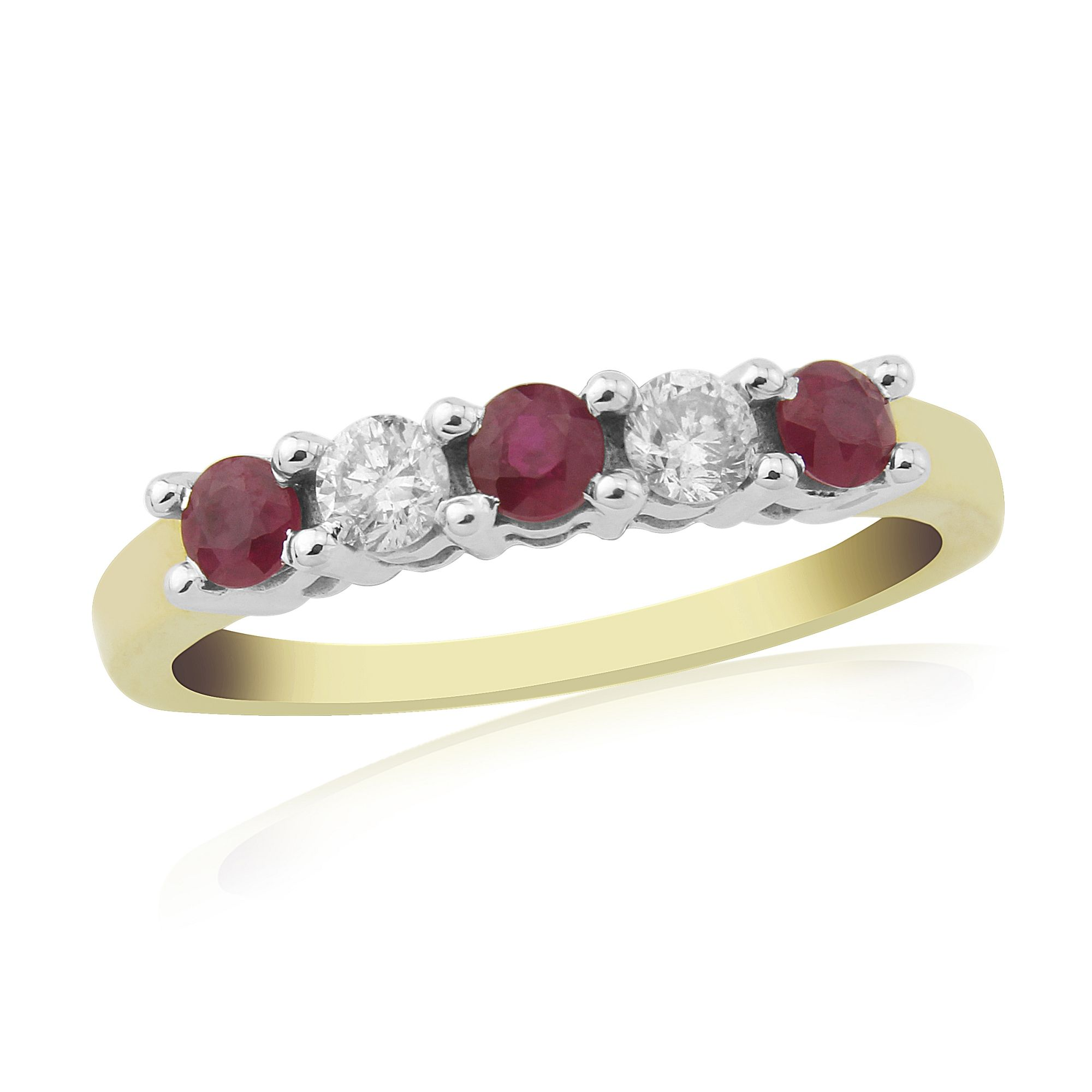 Yellow Gold Claw Set Ruby And Diamond Eternity Ring